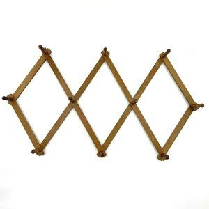 Vtg Wood Expandable Folding 10 Peg Wall Hanger